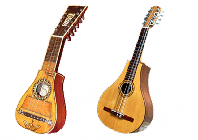 (Left) A Spanish Bandurria of the 18th century; (Right) Bandola Oriental